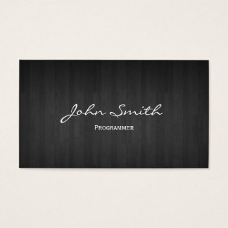 Classy Dark Wood Programmer Business Card