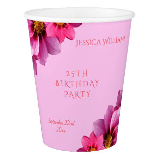 Classy Decorative Corner Dahlias 25th Birthday Paper Cup