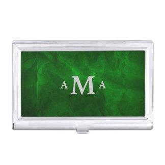 Classy Deep Green Silver Monogram Business Card Holder