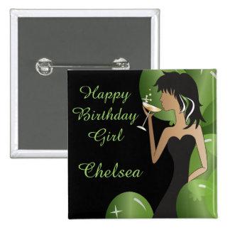 Classy Diva Girl's Party 15 Cm Square Badge