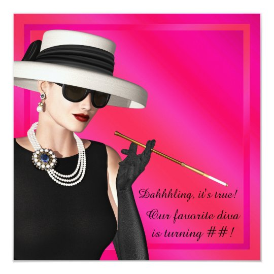 Classy Diva Hot Pink Birthday Party Card