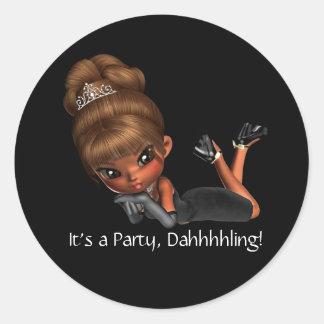 Classy Diva Party Favor Envelope Seal Round Sticker