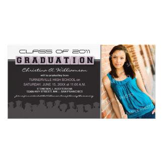 Classy Ebony/Lilac Graduation Announcement Personalized Photo Card