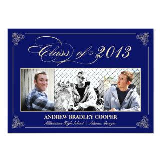 Classy Elegant Blue 2013 Graduation Photo Invite