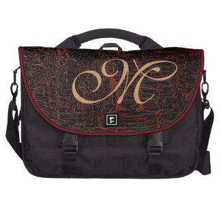 Classy Elegant Cracked Leather Custom Monogram Laptop Bag