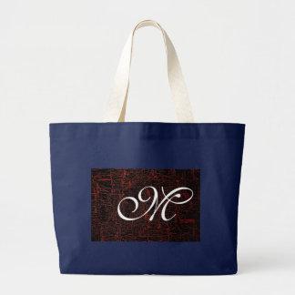 Classy Elegant Cracked Leather Custom Monogram Large Tote Bag