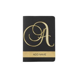 Classy Elegant Executive Gold Monogram Letter A Passport Holder