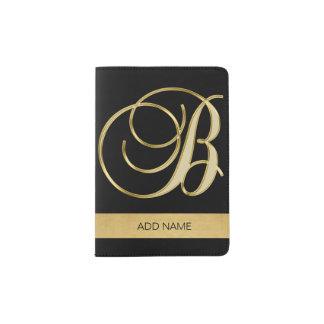 Classy Elegant Executive Gold Monogram Letter B Passport Holder
