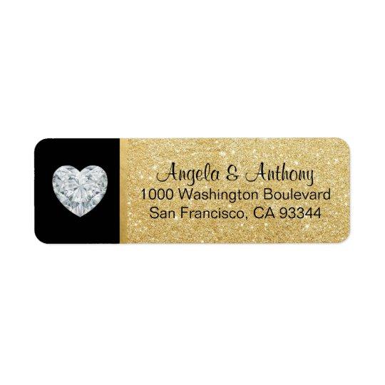 Classy Elegant Glitter GOLD Wedding Return Address Return