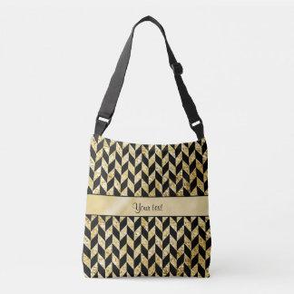 Classy Elegant Gold Chevrons Crossbody Bag