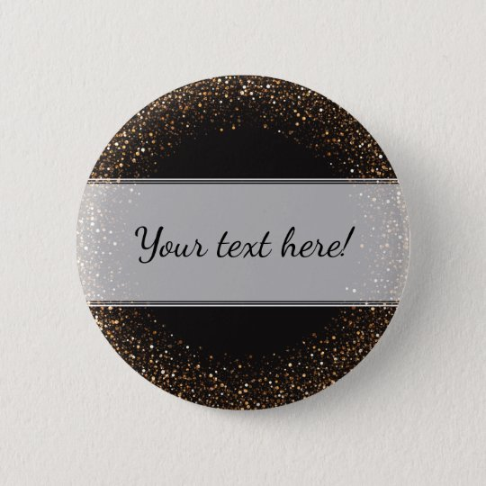 Classy, Elegant Golden Confetti on Black with Name