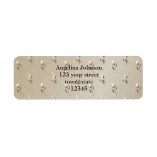 Classy Elegant Golden Sandstone Floral Pattern Return Address Label