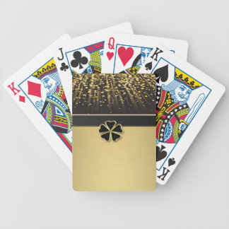 Classy Elegant Irish Shamrock ,Faux Gold Confetti Bicycle Playing Cards