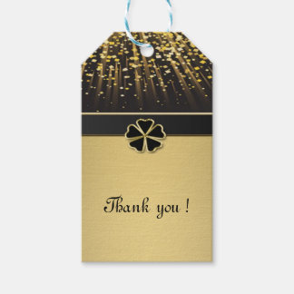 Classy Elegant Irish Shamrock ,Faux Gold Confetti Gift Tags