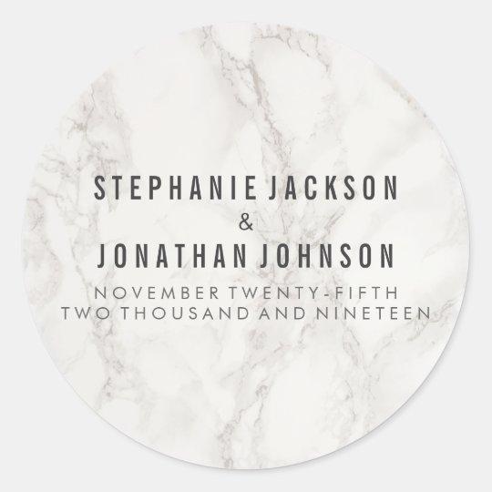 Classy Elegant Marble Wedding Celebration Classic Round Sticker