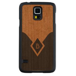 Classy Elegant Monogram Black Tan Elegant Wooden Cherry Galaxy S5 Slim Case