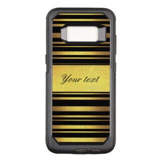 Classy Faux Gold Foil and Black Stripes OtterBox Commuter Samsung Galaxy S8 Case