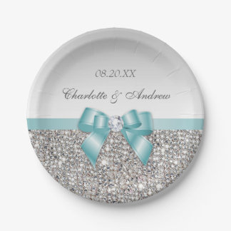 Classy Faux Teal Bow Silver Sequins Wedding Paper Plate