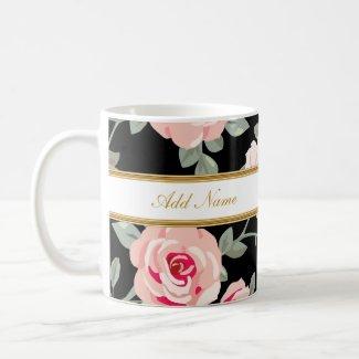 Classy Flora Monogram Coffee Mugs
