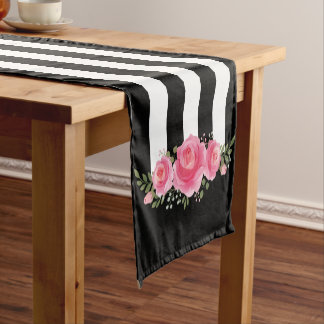 Classy Floral black and white stripes table runner