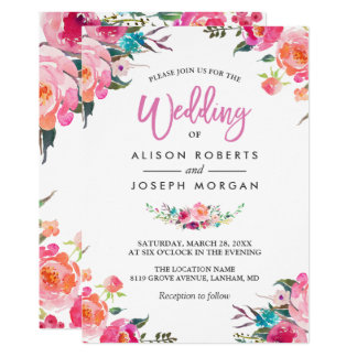 Classy Floral Blossom Watercolor Flowers Wedding 13 Cm X 18 Cm Invitation Card
