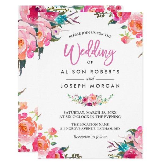 Design Your Own Car >> Classy Floral Blossom Watercolor Flowers Wedding Invitation | Zazzle.co.uk