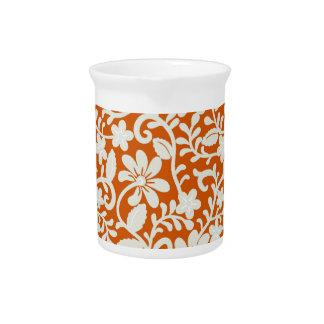 Classy Floral Damask Burnt Orange Pattern Pitcher