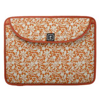 Classy Floral Damask Burnt Orange Pattern Sleeve For MacBooks