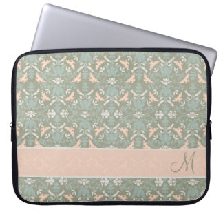 Classy Floral Monogram Damask Laptop Sleeve
