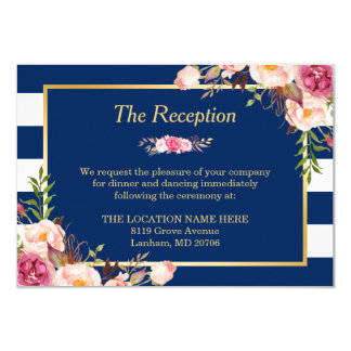 Classy Floral Navy Blue Stripes Wedding Reception Card