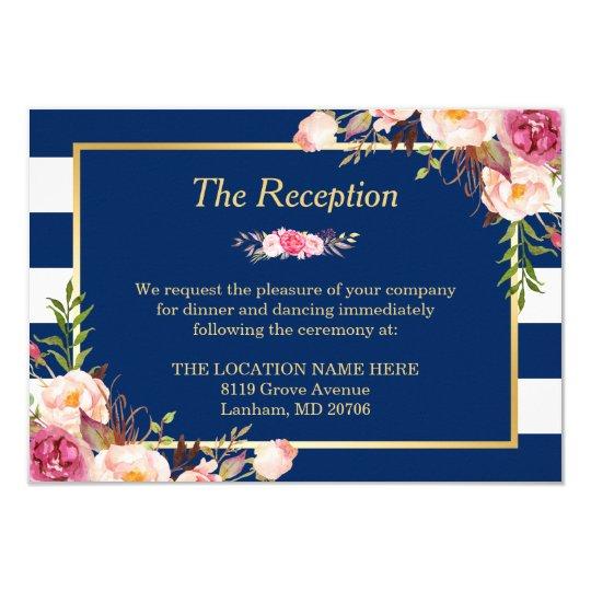 Classy Floral Navy Blue Stripes Wedding Reception Card