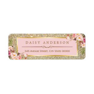 Classy Floral Pink Gold Glitter Sparkles Return Address Label