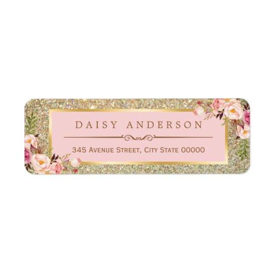 Classy Floral Pink Gold Glitter Sparkles Return Address