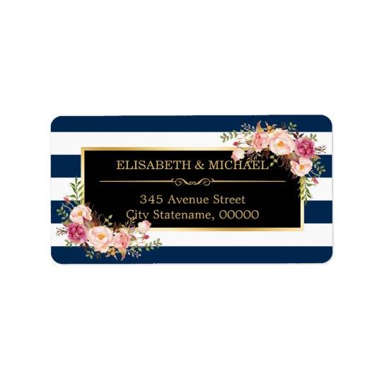 Classy Floral Wrap Navy Blue DIY Stripes Colour Address Label