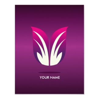 CLASSY FLOWER COMPLIMENT CARD VIOLET PERSONALIZED INVITE