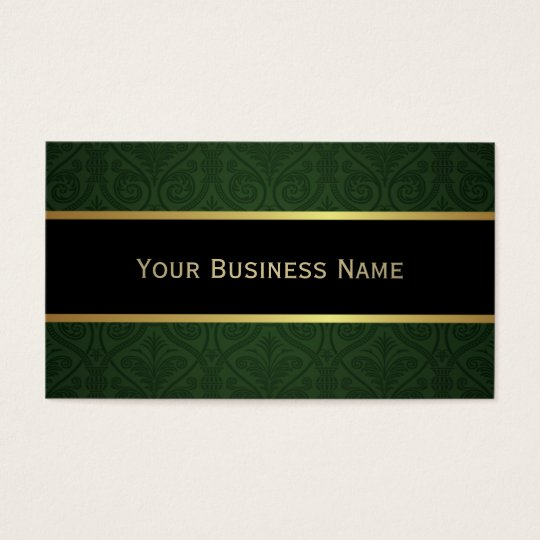 Classy Forest Green Damask Black Business Card