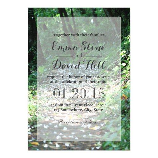 Classy Forest Petal Path Wedding Invitations