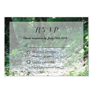 Classy Forest Petal Path Wedding RSVP Personalized Invitation