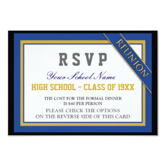 Classy Formal Class Reunion RSVP 9 Cm X 13 Cm Invitation Card