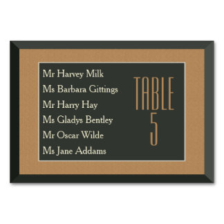 Classy Frame Table Card (Names) Brown Bear Wedding