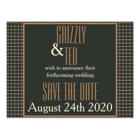Classy Framed Bear Pride Save the Date Postcard