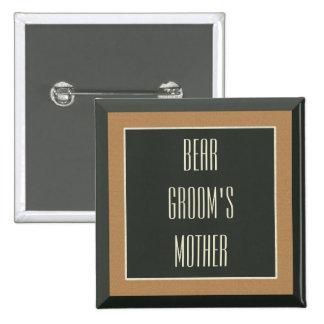 Classy Framed Brown Bear Gay Groom's Mother Badge