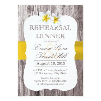 Classy Frangipani Theme Wood Rehearsal Dinner 13 Cm X 18 Cm Invitation Card