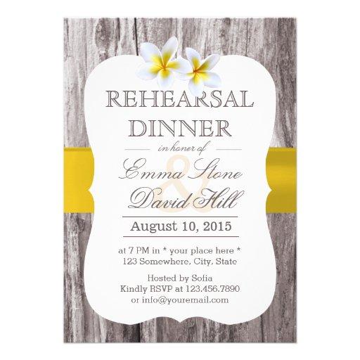 Classy Frangipani Theme Wood Rehearsal Dinner Announcements