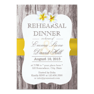 Classy Frangipani Theme Wood Rehearsal Dinner 5x7 Paper Invitation Card
