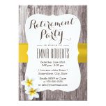Classy Frangipani Wood Background Retirement Party 13 Cm X 18 Cm Invitation Card