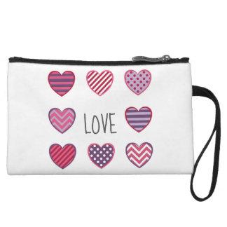 Classy Geometric Pattern Hearts Love Valentine Wristlet