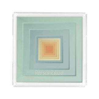 Classy Geometric Squares (light blue & yellow) Acrylic Tray