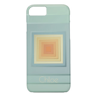 Classy Geometric Squares (light blue & yellow) iPhone 8/7 Case