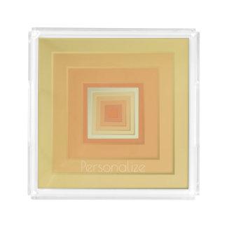 Classy Geometric Squares (soft yellows & orange) Acrylic Tray